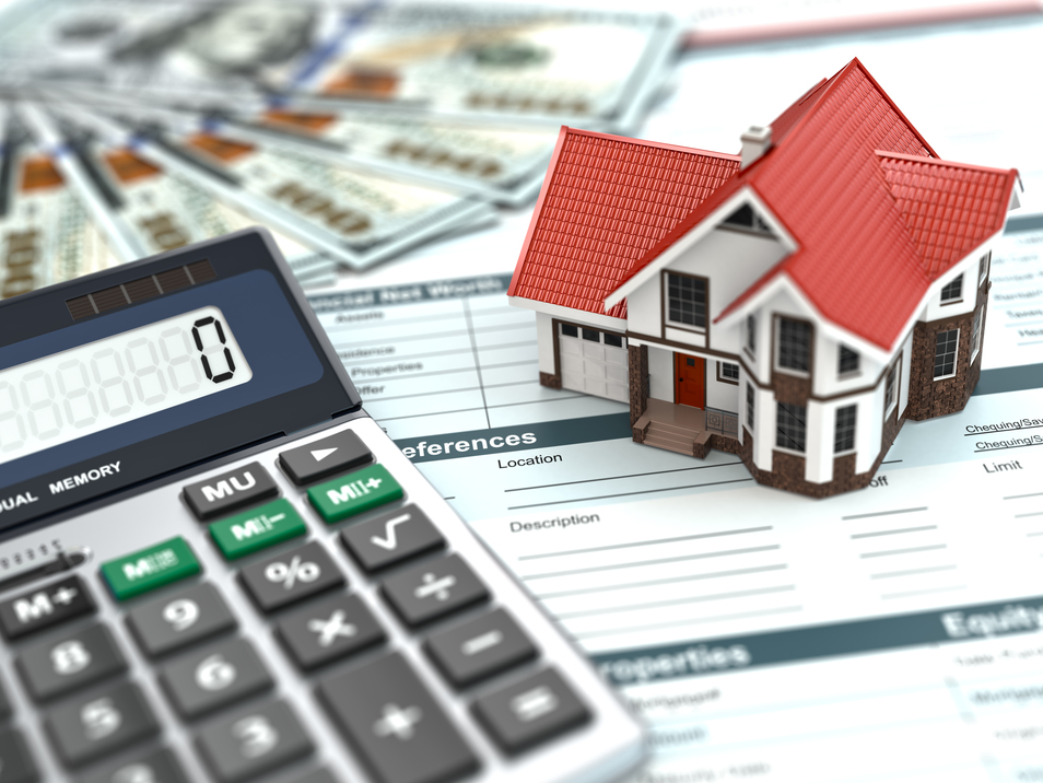 Mortgage calculator. House, money and document. 3d