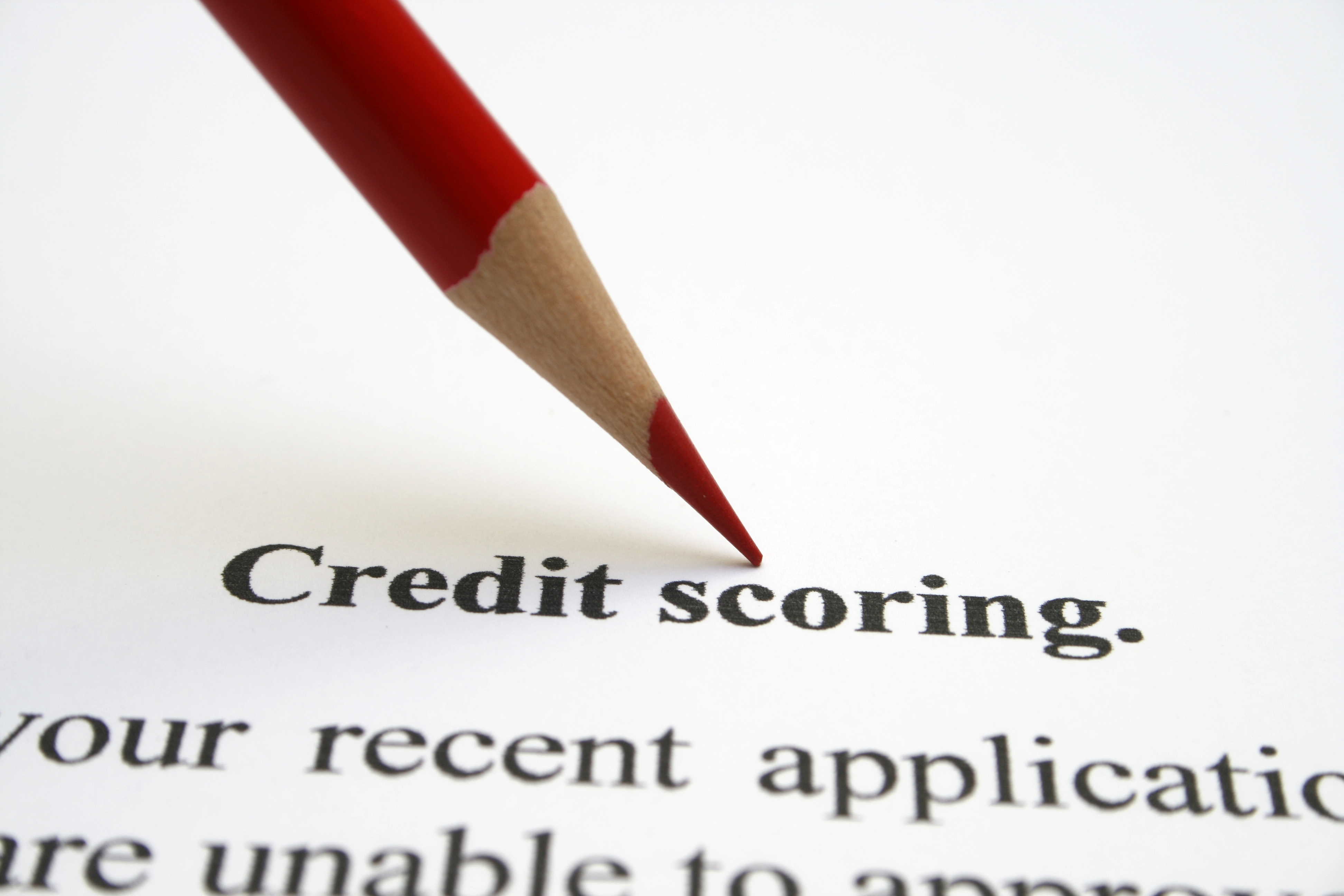 Credit scoring text in bold on a piece of paper