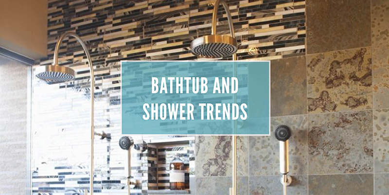 Bathtub and shower trends white text with the background being an open shower