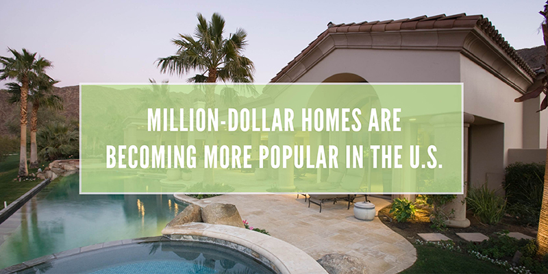 Million-dollar homes are becoming more popular in the U.S. white text over a background of a backyard swimming pool